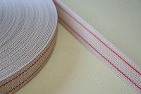 22 mm Gurtband beige mit roten Streifen